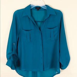 Blue Green Anthropologie Button Up Blouse Size S